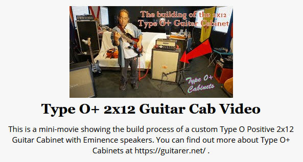 Type O+ Cabinets 2x12 Video